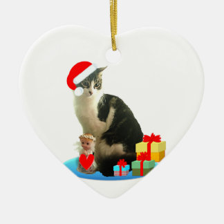 Ornement Cœur En Céramique Chat de MERLIN de Noël