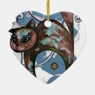 Ornement Cœur En Céramique Chat de myrtille