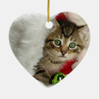 Ornement Cœur En Céramique Chat de Noël - chat de chaton - chats mignons