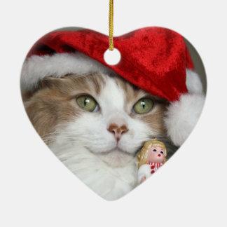 Ornement Cœur En Céramique Chat de Père Noël - chat de Noël - chatons mignons