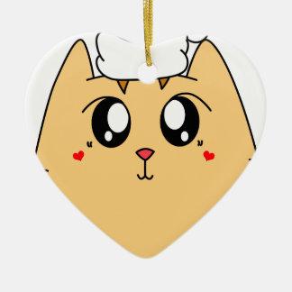 Ornement Cœur En Céramique Chat mignon de Kitty de Noël
