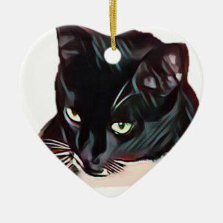 Ornement Cœur En Céramique Chat noir