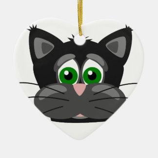 Ornement Cœur En Céramique Chat noir aux yeux verts
