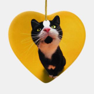 Ornement Cœur En Céramique Chat noir et blanc de chaton-animal familier de