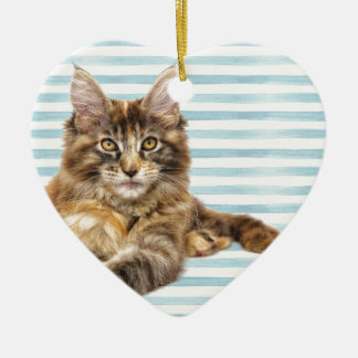 Ornement Cœur En Céramique Chat, ragondin du Maine