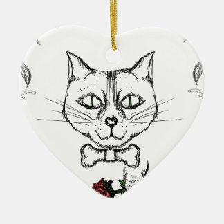 Ornement Cœur En Céramique Chat sophistiqué