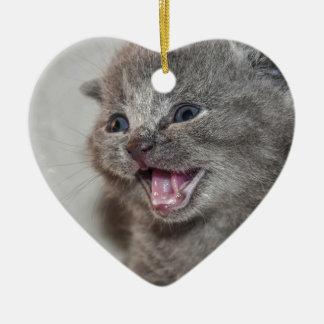 Ornement Cœur En Céramique Chaton de gris de Miaowing