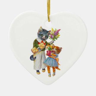 Ornement Cœur En Céramique Chats d'Arthur Thiele soutenant des cadeaux