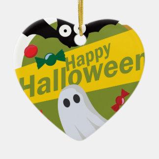 Ornement Cœur En Céramique Chauves-souris et fantômes heureux de Halloween