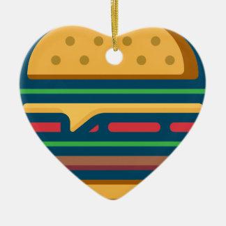 Ornement Cœur En Céramique Cheeseburger de Charbroiled