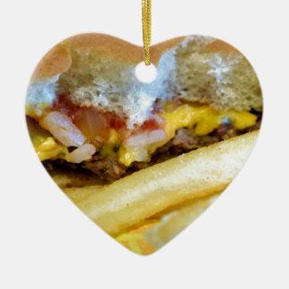 Ornement Cœur En Céramique Cheeseburger et fritures