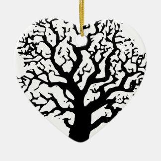 Ornement Cœur En Céramique Chêne