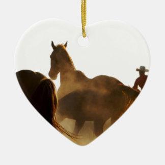 Ornement Cœur En Céramique cheval de lasso de cowboy