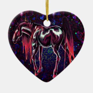 Ornement Cœur En Céramique Cheval rose d'amour
