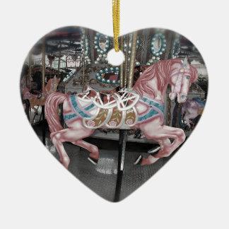 Ornement Cœur En Céramique Cheval rose de carrousel