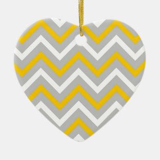 Ornement Cœur En Céramique Chevrons jaunes