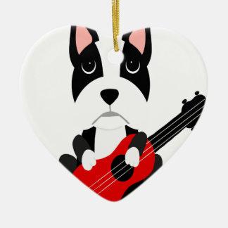 Ornement Cœur En Céramique Chien de Boston Terrier d'amusement jouant la