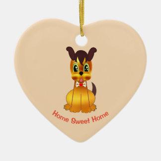 Ornement Cœur En Céramique Chien d'or mignon et doux