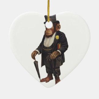 Ornement Cœur En Céramique Chimpanzé drôle - rétro singe - monkey le
