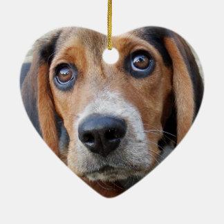 Ornement Cœur En Céramique Chiot observé large adorable de beagle en forme de