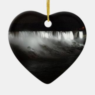 Ornement Cœur En Céramique Chutes du Niagara la nuit
