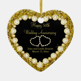 Ornement Cœur En Céramique cinquantième Anniversaire de mariage d'or