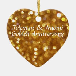 Ornement Cœur En Céramique cinquantième Anniversaire de mariage d'or |