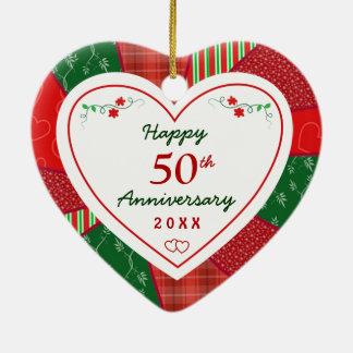 Ornement Cœur En Céramique cinquantième Vacances de Noël d'anniversaire