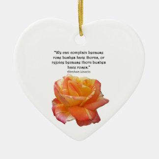 Ornement Cœur En Céramique Citation rose variée par jaune rouge et d'épine