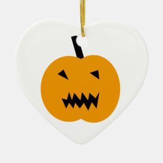 Ornement Cœur En Céramique Citrouille de Halloween