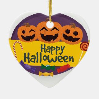 Ornement Cœur En Céramique Citrouille heureux de Halloween