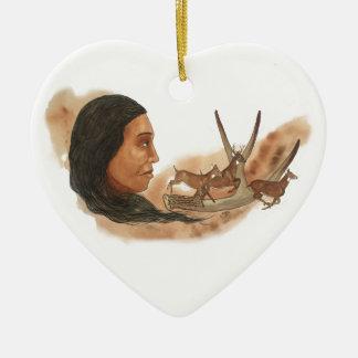 Ornement Cœur En Céramique Clan de cerfs communs