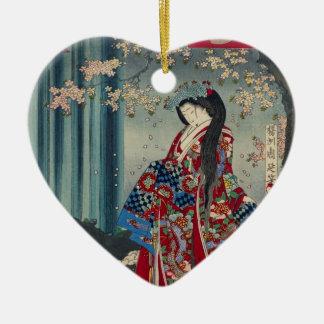 Ornement Cœur En Céramique Classique japonais de cool d'art de Madame Japon