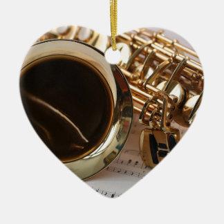 Ornement Cœur En Céramique Clés de Notenblatt de lustre d'or de musique de