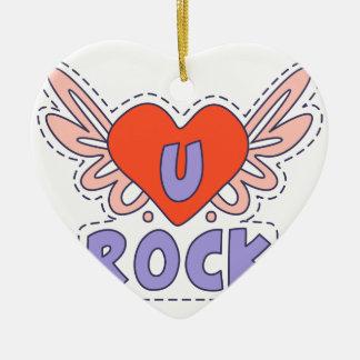Ornement Cœur En Céramique Coeur à ailes par roche lumineux