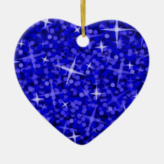 Ornement Cœur En Céramique Coeur bleu-foncé d'ornement de tape-à-l'oeil