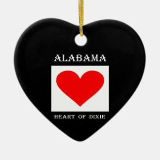 Ornement Cœur En Céramique Coeur de l'Alabama de Dixie