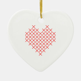 Ornement Cœur En Céramique Coeur de point de Croix-Rouge