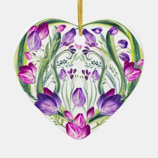 Ornement Cœur En Céramique Coeur en fleurs