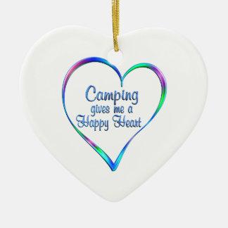 Ornement Cœur En Céramique Coeur heureux campant