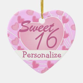 Ornement Cœur En Céramique Coeur rose du bonbon 16