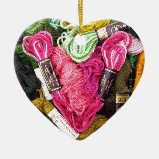 Ornement Cœur En Céramique Coeur rose lumineux coloré mignon de broderie