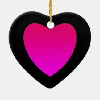 Ornement Cœur En Céramique Coeur rose lumineux sur le noir