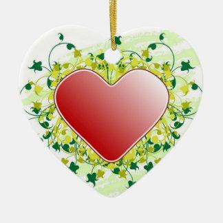 Ornement Cœur En Céramique Coeur rouge de St-Valentin -