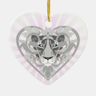 Ornement Cœur En Céramique Coeur-shapedornament de pendentif de lionne