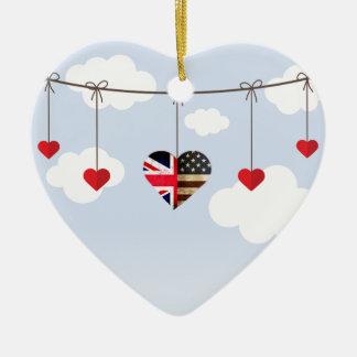 Ornement Cœur En Céramique Coeurs de drapeau britannique et américain de