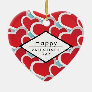 Ornement Cœur En Céramique coeurs de rouge de heureuse Sainte-Valentin