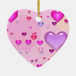 Ornement Cœur En Céramique Coeurs roses pour la Saint-Valentin -