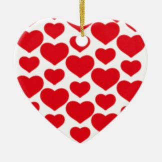 Ornement Cœur En Céramique Coeurs rouges pour Valentine -