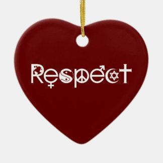 Ornement Cœur En Céramique Coexistent avec le respect - la gentillesse et la